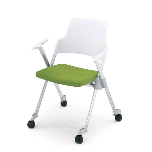 コクヨ 会議椅子 ミーティングチェア スタック 4本脚 キャスター付 アンフィ 肘付 背樹脂タイフ゜ CK-671C