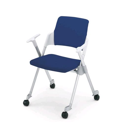 コクヨ 会議椅子 ミーティングチェア スタック 4本脚 キャスター アンフィ 肘付 背カバー付 CK-671CR