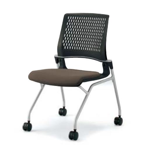 コクヨ 会議椅子 ミーティングチェア 水平スタック 4本脚 キャスター オルディナ 肘なし 背カバーなし 本体ブラック CK-690E6C