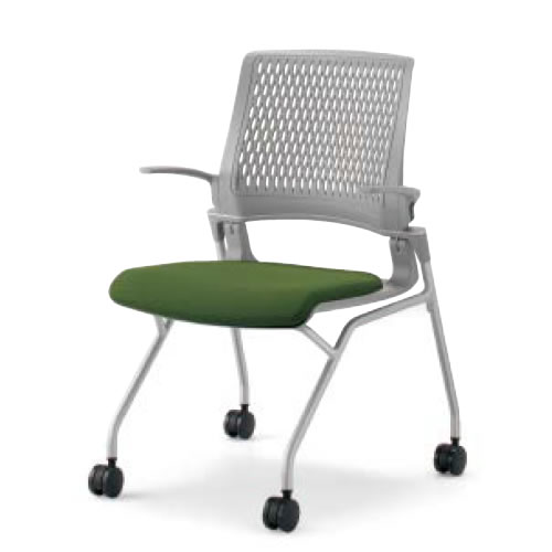 コクヨ 会議椅子 ミーティングチェア 水平スタック 4本脚 キャスター オルディナ 肘付 背カバーなし 本体グレー CK-691E3C