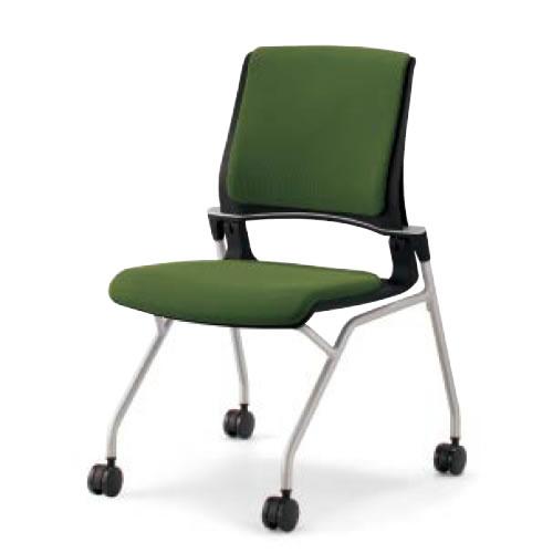 コクヨ 会議椅子 ミーティングチェア 水平スタック 4本脚 キャスター オルディナ 肘なし 背カバー付 本体ブラック CK-692E6C