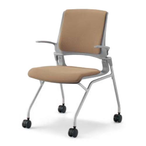 コクヨ 会議椅子 ミーティングチェア 水平スタック 4本脚 キャスター オルディナ 肘付 背カバー付 本体グレー CK-693E3C