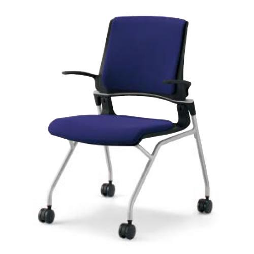 コクヨ 会議椅子 ミーティングチェア 水平スタック 4本脚 キャスター オルディナ 肘付 背カバー付 本体ブラック CK-693E6C