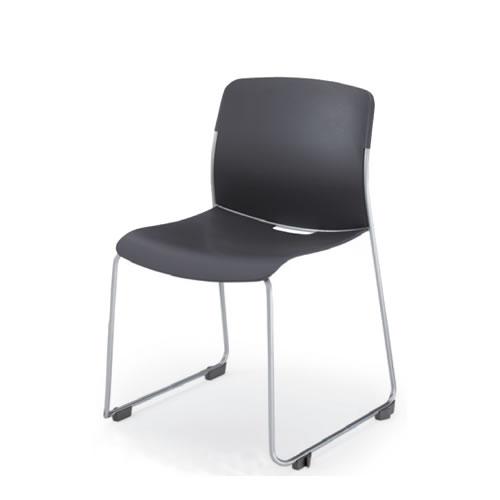 コクヨ アモス 会議椅子 ミーティングチェア 肘なし 背座樹脂 サークル脚 スタッキング 本体カラー チャコールグレー CK-M870F5