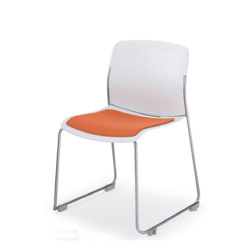 コクヨ アモス 会議椅子 ミーティングチェア 肘なし 座クッション付 サークル脚 スタッキング 本体カラー ホワイト CK-M870PAWJ