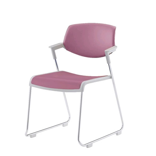 コクヨ 会議椅子 ミーティングチェア 肘付 背カバー付 張地ポリウレタン系レザー サークル脚 スタッキング サティオ CK-M621V