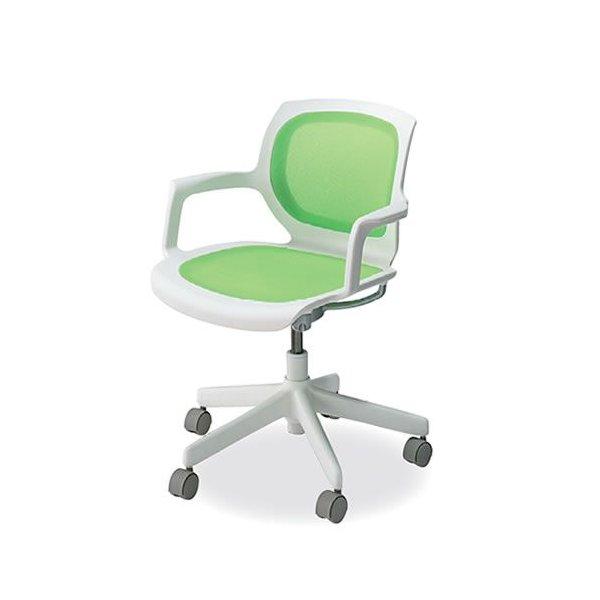 コクヨ 会議椅子 ミーティングチェア 回転タイプ キャスター 肘付 マリンバ ホワイトフレーム CR-G1501PBW