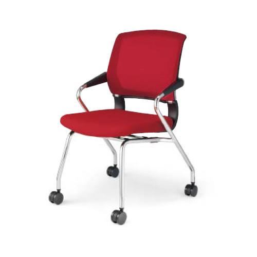 コクヨ 会議椅子 ミーティングチェア 肘付 メッキ脚 4本脚 キャスター サテリテ CK-M791C