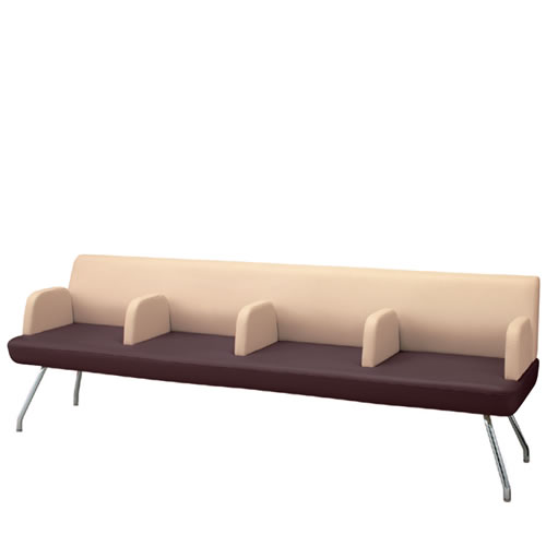 コクヨ ロビーチェア 待合 病院 長椅子 4人掛け アールなしタイプ スチール脚 レザー張り マドレ CN-1104AN