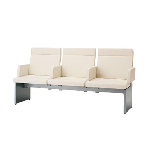 コクヨ ロビーチェア 待合 病院 長椅子 3人掛け アーム付き 張りぐるみタイプ アールなしタイプ レザー張り パドレ CN-1203AS