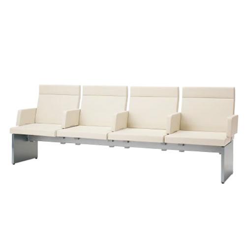 コクヨ ロビーチェア 待合 病院 長椅子 4人掛け アーム付き 張りぐるみタイプ アールなしタイプ レザー張り パドレ CN-1204AS