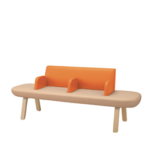 コクヨ ロビーチェア 待合 病院 長椅子 4人掛け 両アールタイプ 木脚 レザー張り マドレ CN-W1104ALR