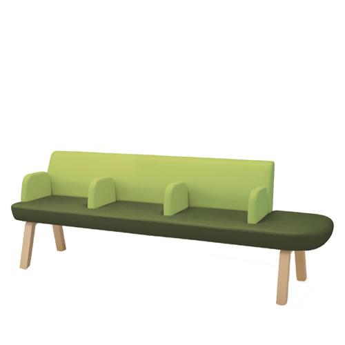 コクヨ ロビーチェア 待合 病院 長椅子 4人掛け 片アールタイプ 木脚 レザー張り マドレ CN-W1104ALRNV