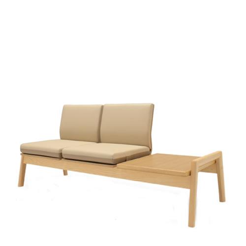 コクヨ ロビーチェア 待合 病院 長椅子 2人掛け アームレス 木脚 サイドテーブル付 ポリウレタン系レザー ノドカ XAC-CN33T