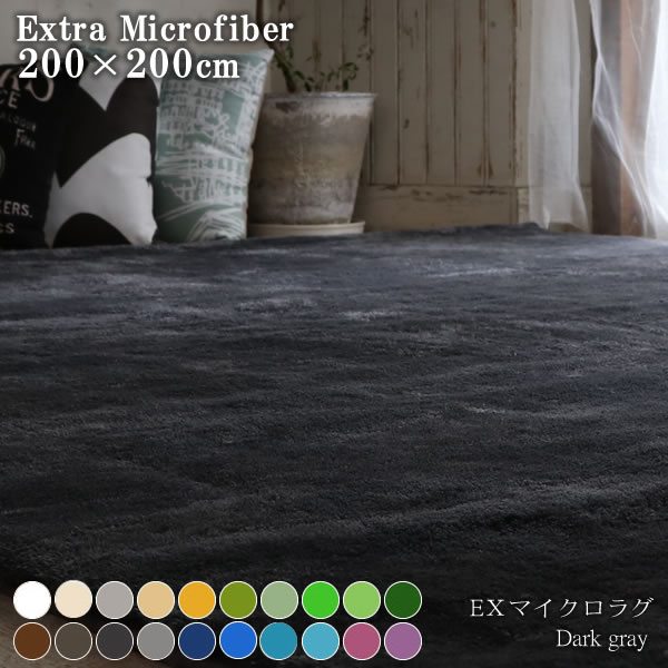 ラグ 洗える マット EXマイクロ ファイバー ラグマット MS300 ダークグレー 200×200cm 正方形 全20色 滑り止め加工 床暖房対応 ホットカーペットカバー トシシミズMS300-164