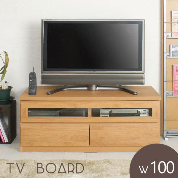 天然木アルダー テレビボード 幅101cm ナチュラル TVボード テレビ台 ローボード デッキ収納 フラップ扉 完成品 日本製 NR-TE-0003
