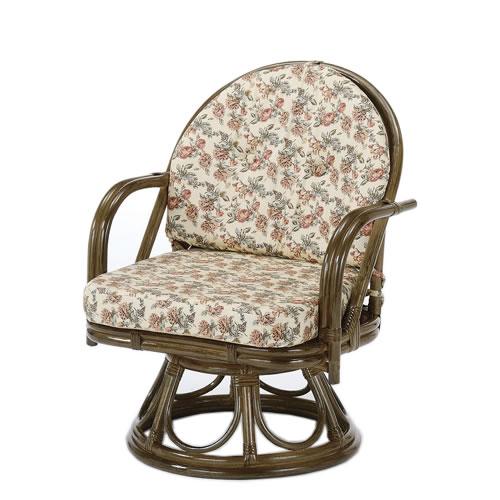 籐 座椅子 ラウンドチェアー ミドルハイタイプ 回転椅子 回転座椅子 籐椅子 回転ラタン椅子 籐製チェア S-253B