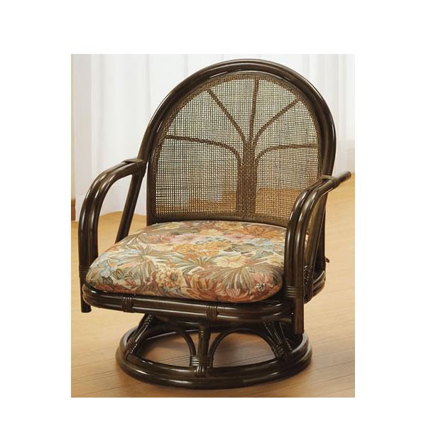 籐 座椅子 ラウンドチェアー ミドルタイプ 回転椅子 回転座椅子 籐椅子 回転ラタン椅子 籐製チェア S-302B