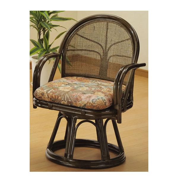 籐 座椅子 ラウンドチェアー ハイタイプ 回転椅子 回転座椅子 籐椅子 回転ラタン椅子 籐製チェア S-304B