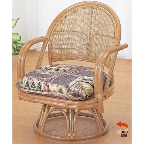 座椅子 籐回転座椅子 ハイタイプ 籐椅子 回転ラタン椅子 籐チェア S-3501
