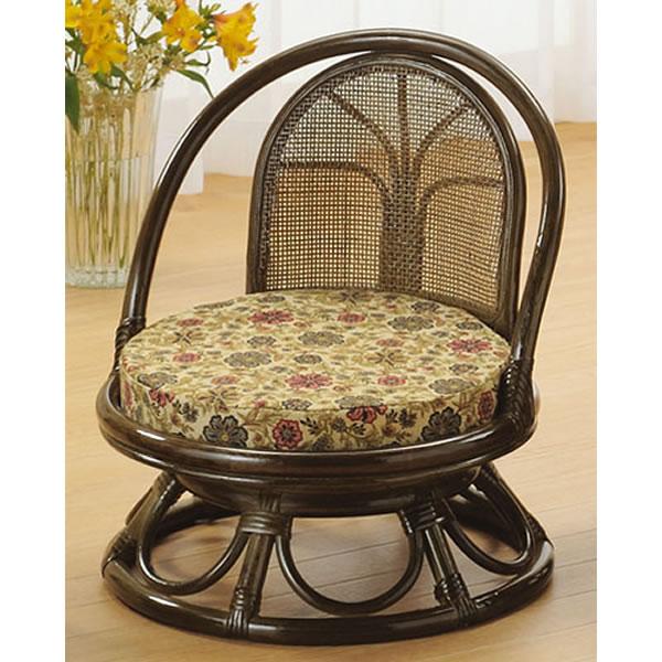 座椅子 籐回転座椅子 ミドルタイプ 籐椅子 回転ラタン椅子 籐チェア S-512B