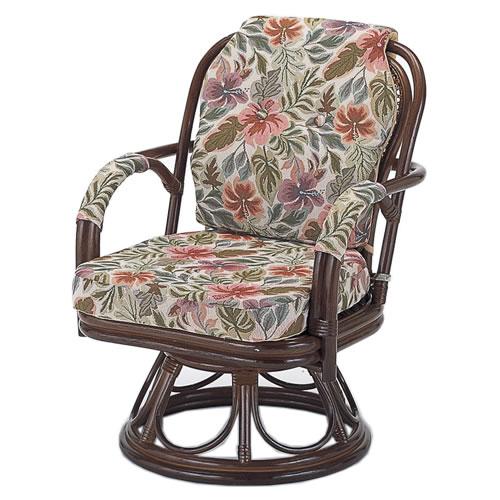 籐製 座椅子 ラウンドチェアー ミドルハイタイプ 回転座椅子 籐椅子 回転ラタン椅子 籐チェア S-653B