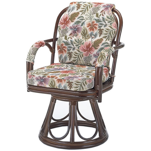 籐製 座椅子 ラウンドチェアー ハイタイプ回転座椅子 籐椅子 回転ラタン椅子 籐チェア S-654B