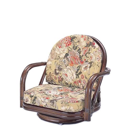 籐製 座椅子 ラウンドチェアー ロータイプ 回転座椅子 籐椅子 回転ラタン椅子 籐チェア S-775B