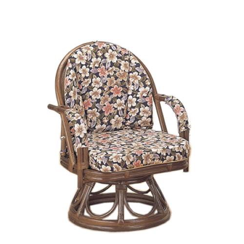 籐製 座椅子 ラウンドチェアー ハイタイプ 回転座椅子 籐椅子 回転ラタン椅子 籐チェア S-888B