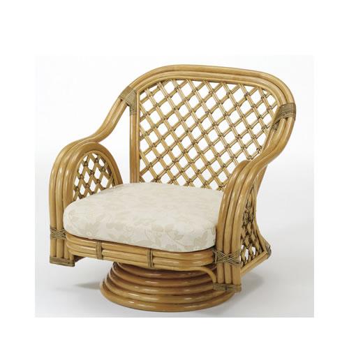 籐製 座椅子 籐ワイドラウンドチェアー 回転座椅子 籐椅子 回転ラタン椅子 籐チェア Y-150