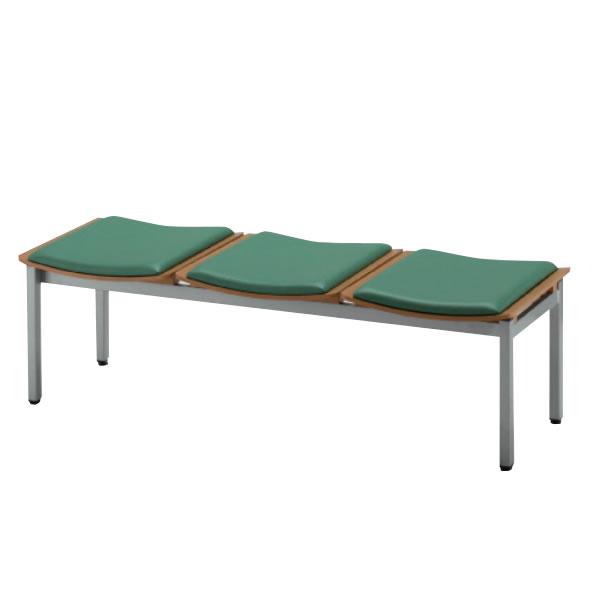長椅子 ロビーチェア 待合椅子 3人掛 座クッション付 ウレタンレザー張り MWC型 MWC-193BV