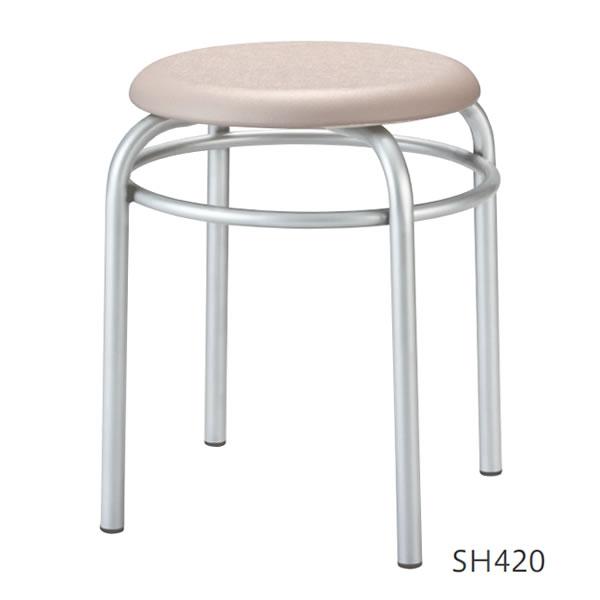 スタッキング 丸椅子 作業用ブロー成型座スツール リング補強付き 座面高420mm キャスターなし 4脚セット R-M920R