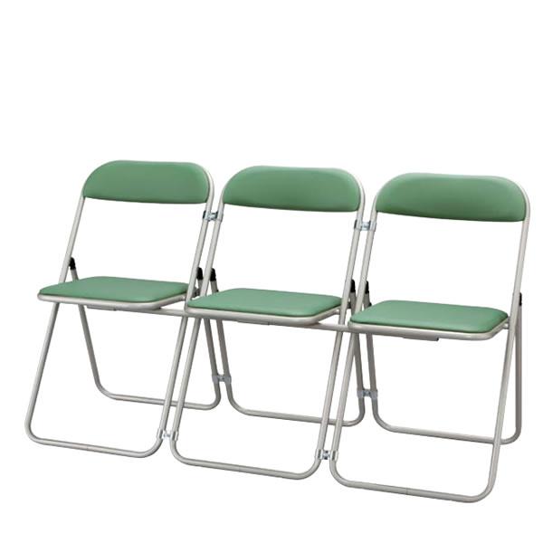 折りたたみチェア パイプ椅子 イス いす 3連結型 2セット 塗装脚 NOTUM-36V-M3