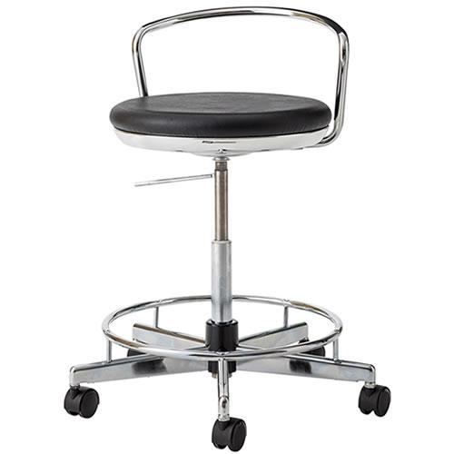 導電チェア 作業スツール 作業用 椅子 ガス上下調節 キャスター付き TMS型チェア 背パイプ付 足掛けリング付 TSM-EH26L