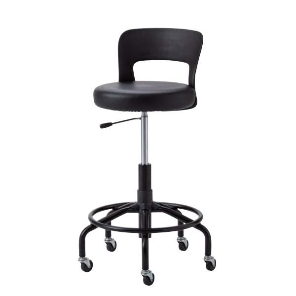 作業用チェア 作業椅子 作業用椅子 高作業用スツール CA型 塗装脚 MVビニールレザー張り ガス上下調節 背付き CA-BT5