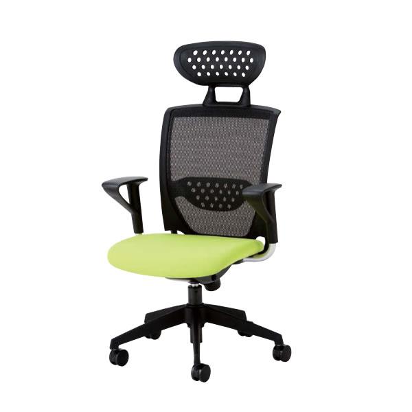 オフィスチェア 事務椅子 椅子 ルルメッシュ LULU mesh ヘッドレスト付き 固定肘付 ロッキング任意固定機構 布張り LLM-9A