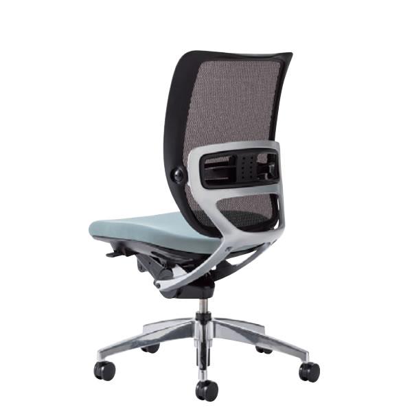 オフィスチェア 事務椅子 デスク用 椅子 SFRチェア アルミ脚 肘なし 背メッシュ 硬度順増ウレタン座クッション SFR-52RB