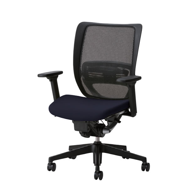 オフィスチェア 事務椅子 デスク用 椅子 SFRチェア 樹脂脚 3WAY可動肘付 背メッシュ 硬度順増ウレタン座クッション SFR-H45RB