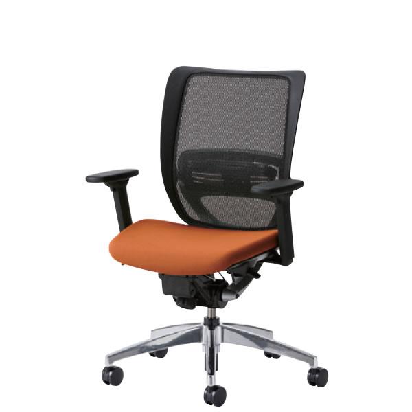 オフィスチェア 事務椅子 デスク用 椅子 SFRチェア アルミ脚 3WAY可動肘付 背メッシュ 硬度順増ウレタン座クッション SFR-H55RB