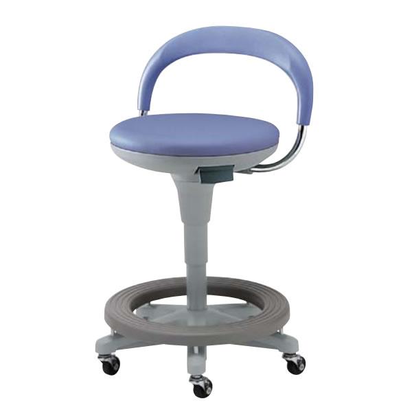 作業用チェア 作業椅子 作業用椅子 丸椅子 スツール 背付き 樹脂ステップ付き 着座ブレーキキャスター付き ガス上下調節 TSS-K18RL-STCC