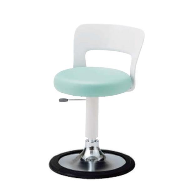 丸椅子 丸イス スツール ラウンドチェア 背付き 円盤脚キャスターなし 樹脂プロテクタ付き ガス上下調節 CA-J14B