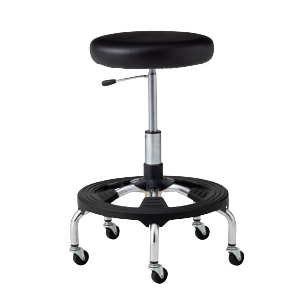 高作業用チェア 作業 椅子 作業用スツール CA型 メッキ脚 ガス上下調節 帯電防止樹脂スッテプ キャスター付き ビニールレザー張り CA-MT6-ST