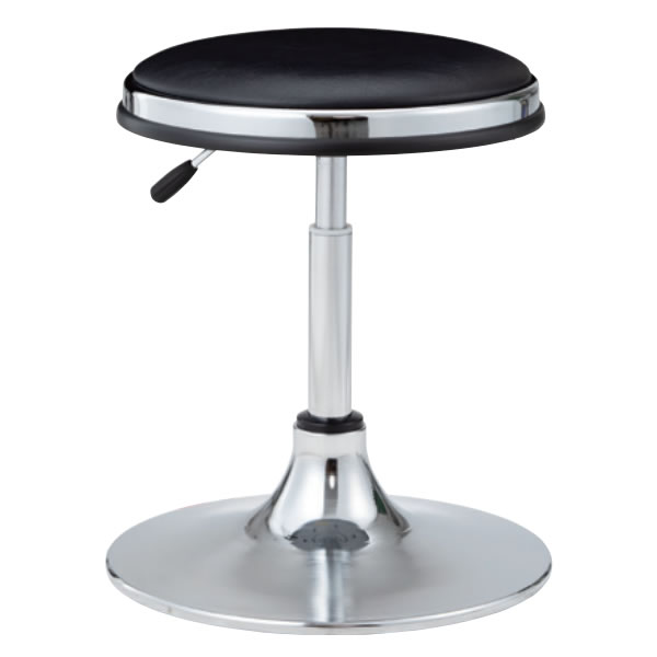 作業用チェア 作業椅子 作業用椅子 丸椅子 丸イス 椅子 スツール ガス上下調節 メッキ円盤脚 ビニールレザー張り TD-13L-Z