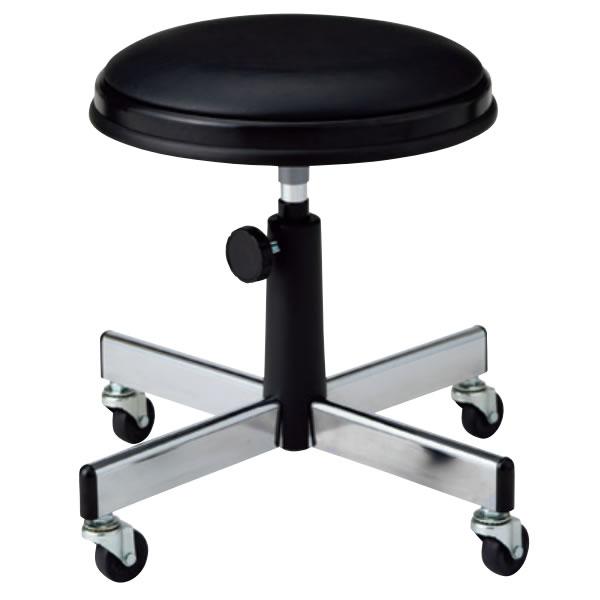 作業用チェア 作業椅子 作業用椅子 丸椅子 丸イス スツール 手動上下調節 キャスター脚 ビニールレザー張り TD-B14N