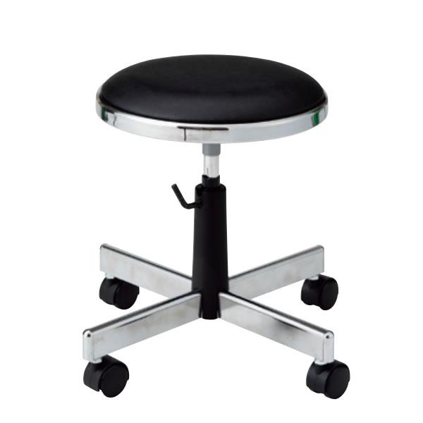 導電チェア 作業用イス 作業椅子 椅子 丸いす スツール 手動上下調節 導電双輪キャスター TD-E34N