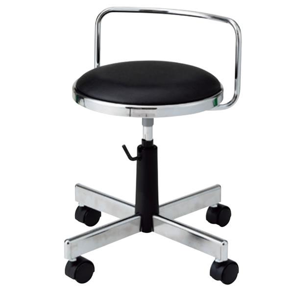 導電チェア 作業用イス 作業椅子 椅子 丸いす スツール 手動上下調節 導電双輪キャスター 背付き TD-E36N
