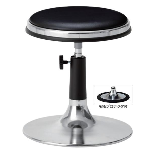 作業用チェア 作業椅子 作業用椅子 丸椅子 丸イス 椅子 スツール 手動上下調節 メッキ円盤脚 樹脂プロテクタ付き ビニールレザー張り TD-J13