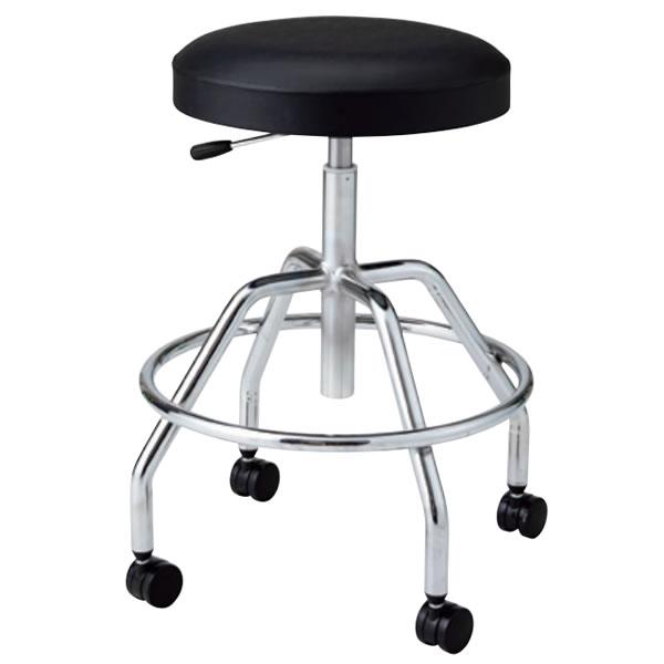 高作業用チェア 作業 椅子 作業用スツール ガス上下調節 キャスター脚 メッキ脚 リング付き TG-M6L-Z