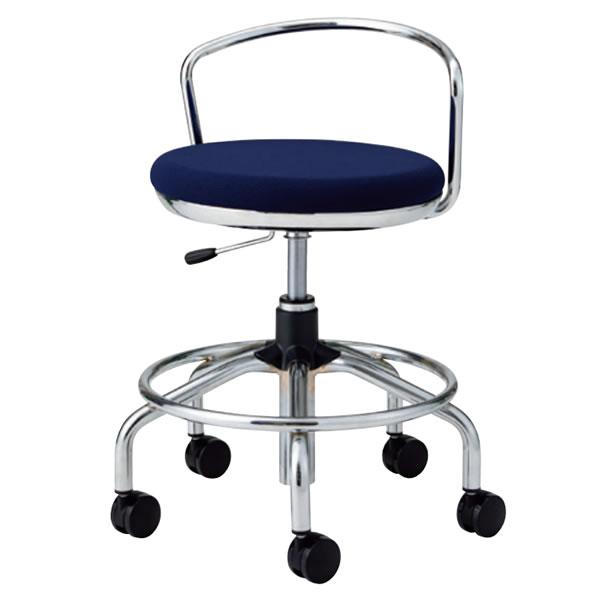 作業用チェア ハイタイプ 丸イス 作業スツール 丸椅子 椅子 座高ガス上下調節 キャスター付き 背パイプ付き リング付き TSM-C16