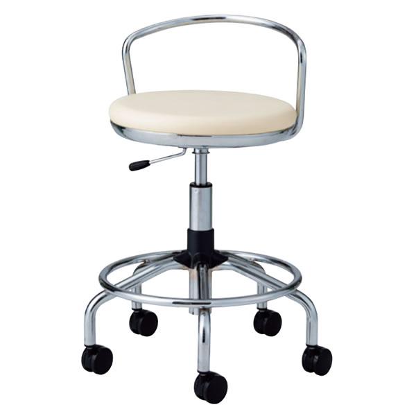 作業用チェア スーパーハイタイプ 丸イス 作業スツール 丸椅子 椅子 座高ガス上下調節 キャスター付き 背パイプ付き リング付き TSM-C18